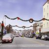 Commercial garland Light Pole Decoration