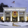 Outdoor large Christmas wreath on a bank